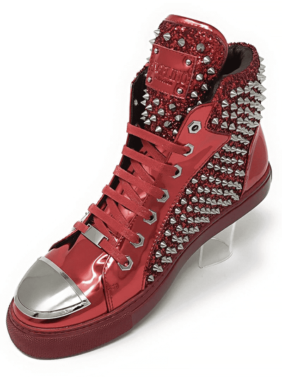 SPIKE STUDDED RED HI TOP SNEAKER
