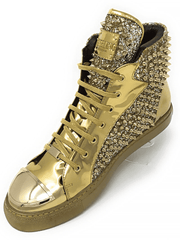 New Hot Men's Fashion High Top Sneaker H. Spike Gold - ANGELINO