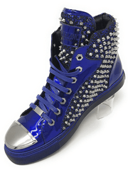 blue leather high top spiky sneaker shoes