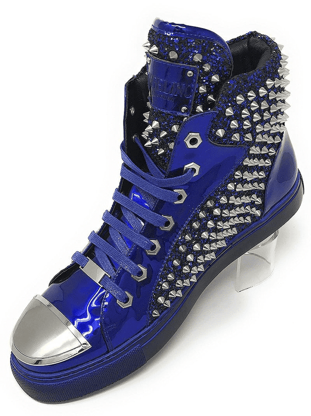 New Hot Men's Fashion High Top Sneaker H. Spike Blue - ANGELINO