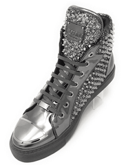 Men's Fashion High Top Sneaker H. Spike Silver - ANGELINO