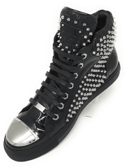 Men's Fashion High Top Sneaker H. Spike Black - ANGELINO