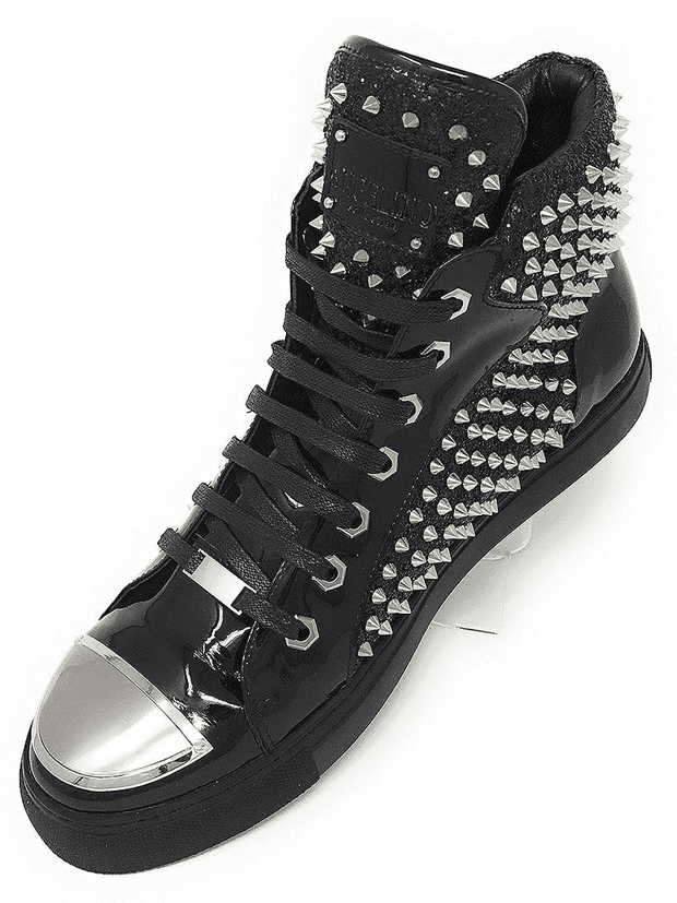 BLACK HI TOP SNEAKER STUDDED SPIKES
