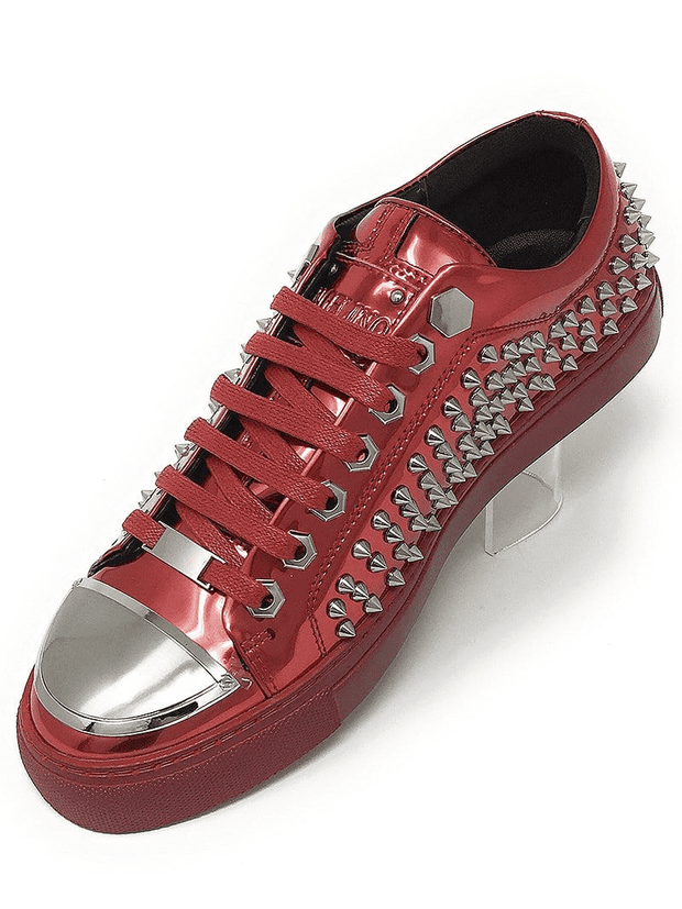 SPIKE STUDDED RED SNEAKER,Angelino Patent leather low-top sneaker. Decorated with gold tone spikes, lightly padded tongue, rubber sole, flat laces and steal capped toes.