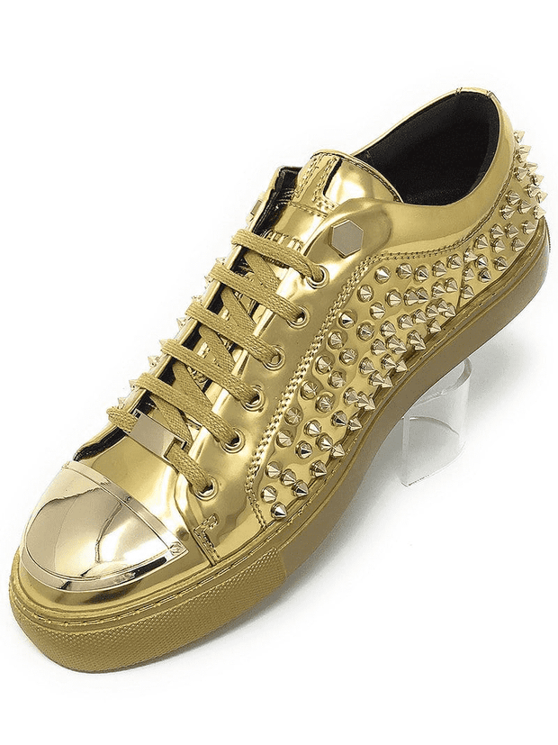 gold leather spiky sneaker shoes