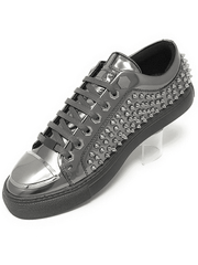 silver leather spiky sneaker shoes