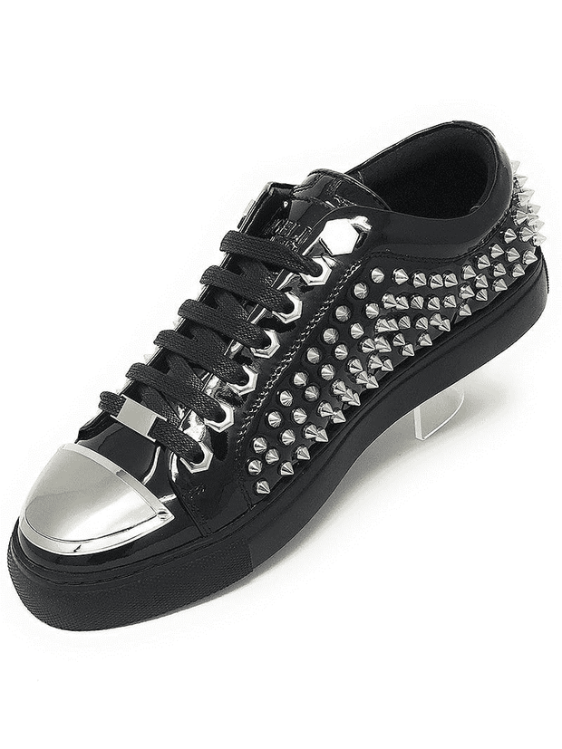 black leather spiky shoes
