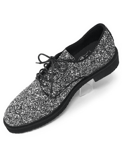 SILVER BLUCHER GLITTER MENS SHOE,Angelino Fashion forward footwear. Eye catching silver glitter coat, lace up closure with hidden eyelets, leather lining, blocked heel, comfort and durability.