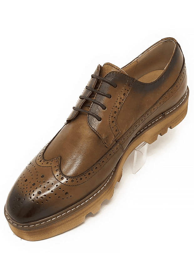 BROWN OXFORD WINGTIP CREEPER,Burnish leather wingtip. Leather upper, leather inside lining, cushion sole, lace-up construction, rubber sole, and light weight.