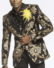 black blazer with gold victorian motives for men