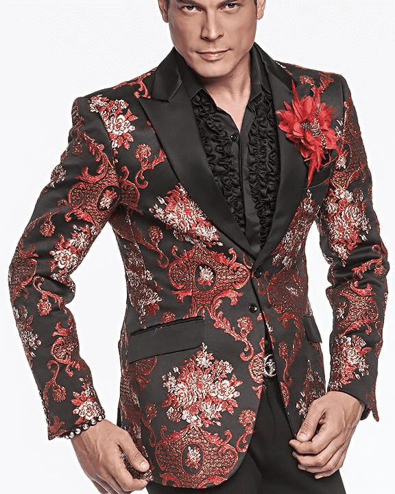 Men's Fashion Exotic Blazer Savile Red - ANGELINO