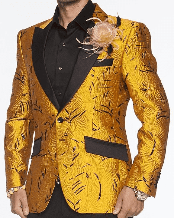 gold fashion blazer for men