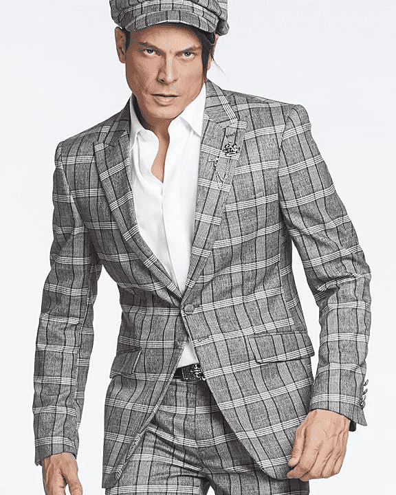 Men's Fashion Suit Glen Grey - ANGELINO