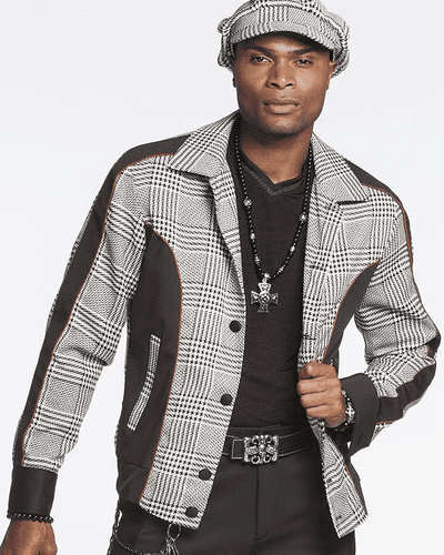 Bomber Jacket for men -Glen Plaid with matching Cap.