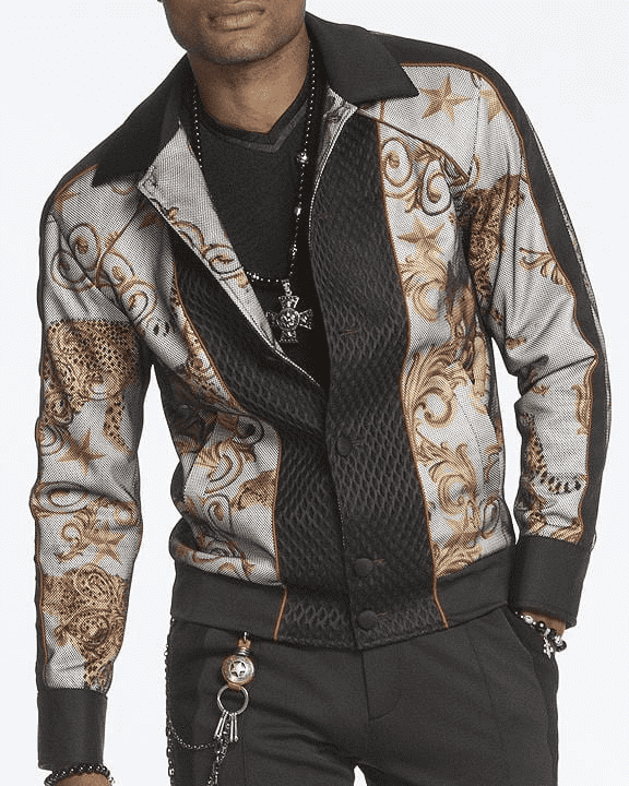 Bomber Jacket with victorian motive in gold color