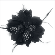 Men's Fashion Lapel Flower- Flower1 Black - ANGELINO