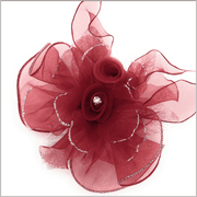 Burgundy lapel flower