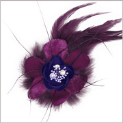 Hand made purple multi texture lapel flower.