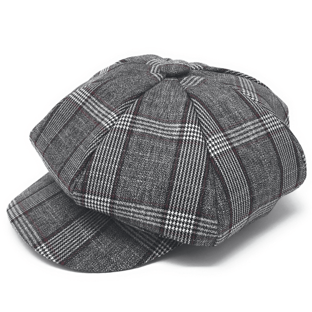 Men's New Fashion Hat Glen Grey/Red - ANGELINO