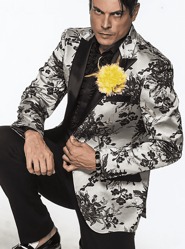 fashion blazer with woven grey and gold flowers for men