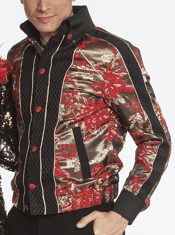 Men's New Fashion Bomber Jacket Gold Leaf Red - ANGELINO