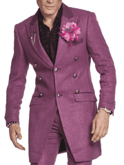 purple long coat for men, classic fashion long coat, herringbone pattern, casual look,