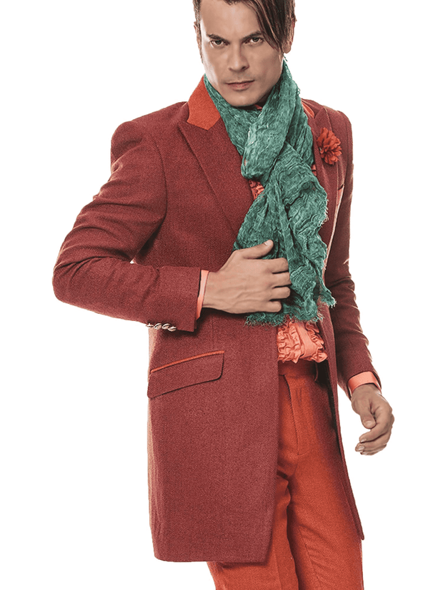 long coat for men in rust color