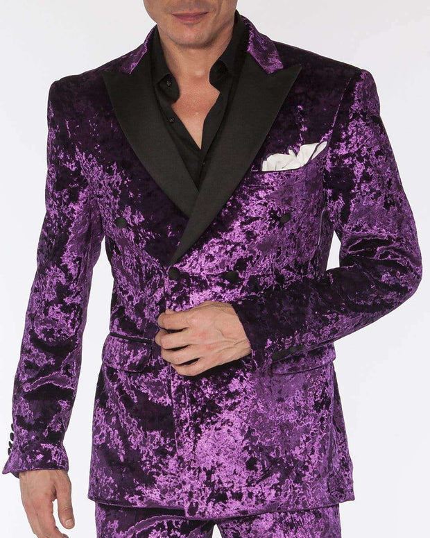 men's black crushed velvet double breasted purple suits with black lapel and flap pockets