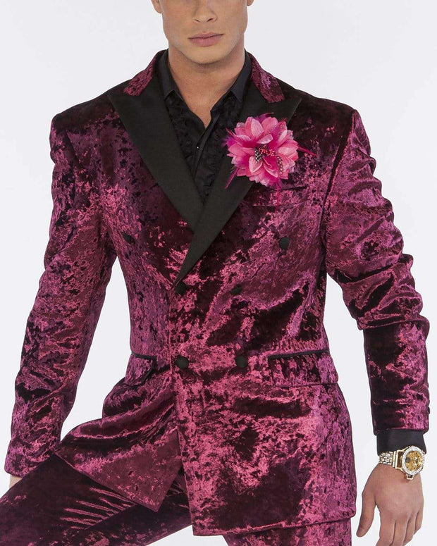 men's crushed velvet double breasted suits with black satin lapel, side vents