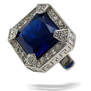 men's cufflink with blue stone