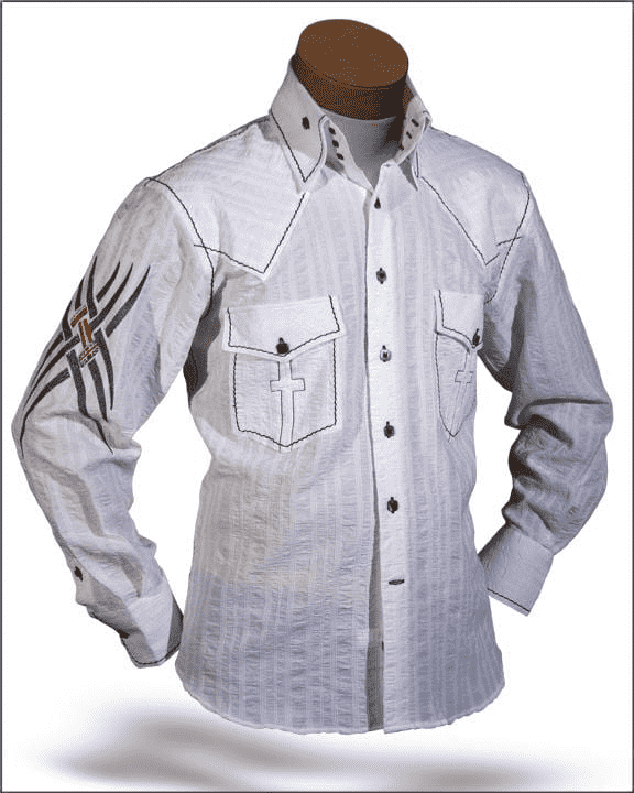 Men's Fashion shirt Indian White, High collar shirt