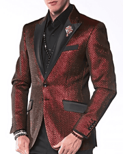 Men's Fashion Blazer, Tyler Red  -  Prom - Wedding - Tuxedo - ANGELINO