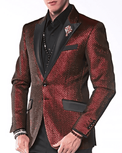 Men's Fashion Blazer Tyler Red with black lapel- ANGELINO