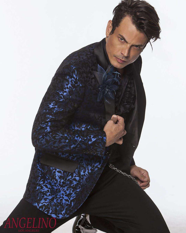 Fashion Sport Coat/Blazer-Woven Victorian Blue - ANGELINO