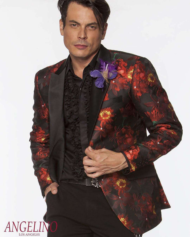 men's fashion floral blazer black body with red flower