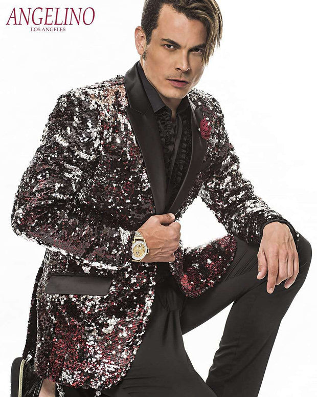 Men's Fashion Blazer and Sport Coat Sequins Vegas Red - ANGELINO