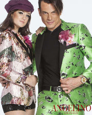 girls in pearl pink floral blazer with matching hat and guy in green fashion suits with small floral woven motifs