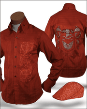 Men's Shirts, Dante Rust, Embroidery -  High Collar - ANGELINO