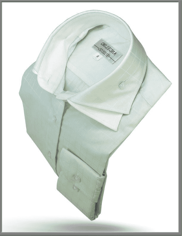 Men's Cotton Shirt - Double Collar Shirt Green - ANGELINO