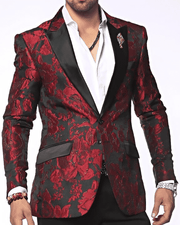 Men's Fashion Exciting Blazer and Sport Coat Flower17 Red - ANGELINO