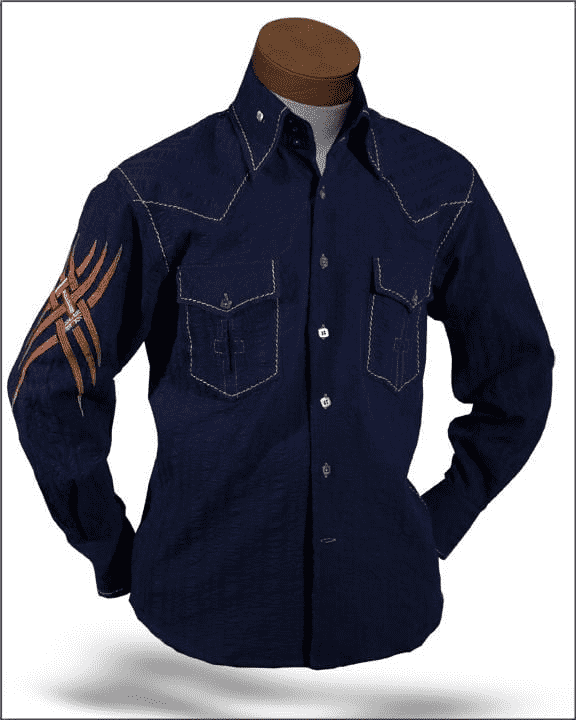 Men's Fashion shirt Indian Navy/Brown - ANGELINO