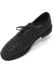 Festival  BLACK DERBY GLITTER MENS SHOE,Angelino Fashion forward footwear. Eye catching black glitter coat, lace up closure with hidden eyelets, leather lining, blocked heel, comfort and durability.  Festival Black Derby Glitter Mens Shoe
