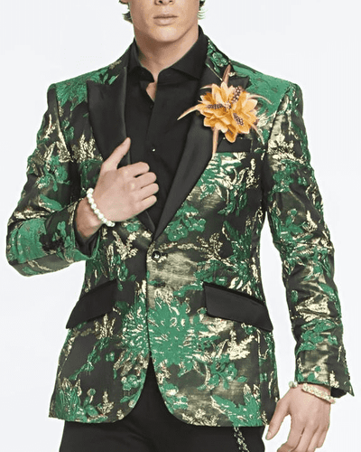 Mens Fasion Blazer-Gold Leaf Green