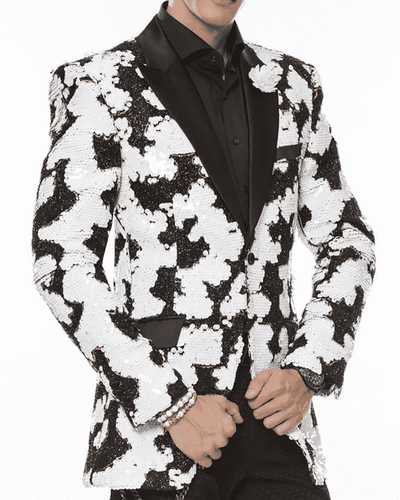 Men fashion sequins blazer Festival peak lapel