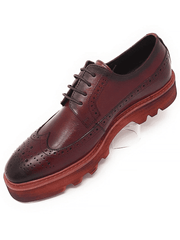 Burnish leather wingtip. Leather upper, leather inside lining, cushion sole, lace-up construction, rubber sole, and light weight.  Red Oxford Wingtip Creeper