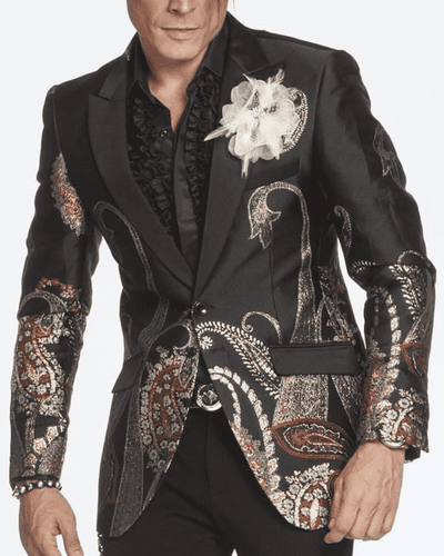 funky Men's Blazer-M. Paisley4 Black/Gold, BLACK BLAZER, GOLD PAISLEY, RED AND GOLD PAISLEY, PRINT ON BOTTOM, ORNAMENTAL DESIGN, PAISLEY DESIGN,