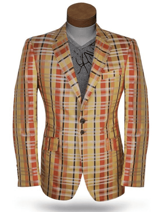 Men's Plaid Fashion Blazer Malibu Orange - ANGELINO