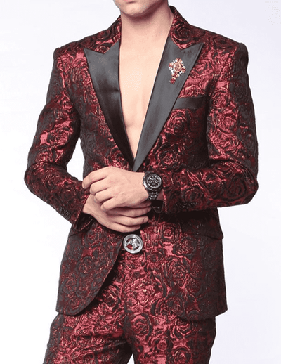 prom suit in red woven fabric with rose design