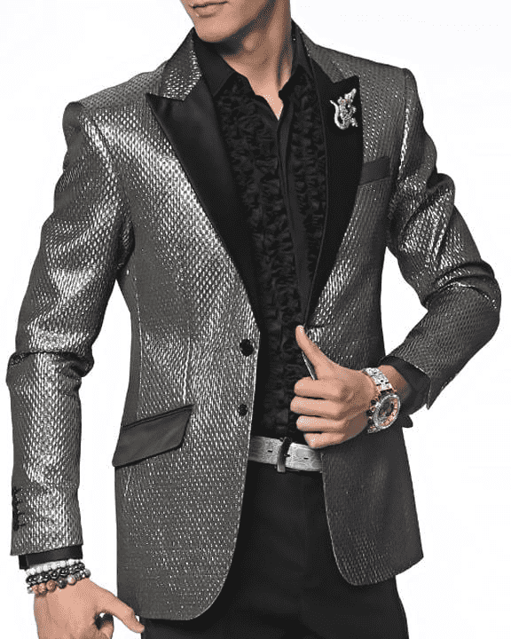 shinny silver Blazer with black satin lapel and pocket flaps