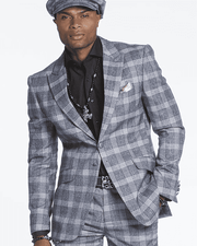 Men's Fashion Suit-Glen Blue - ANGELINO